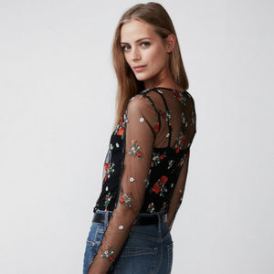 Express Floral Embroidered Sheer Mesh Top - NWOT